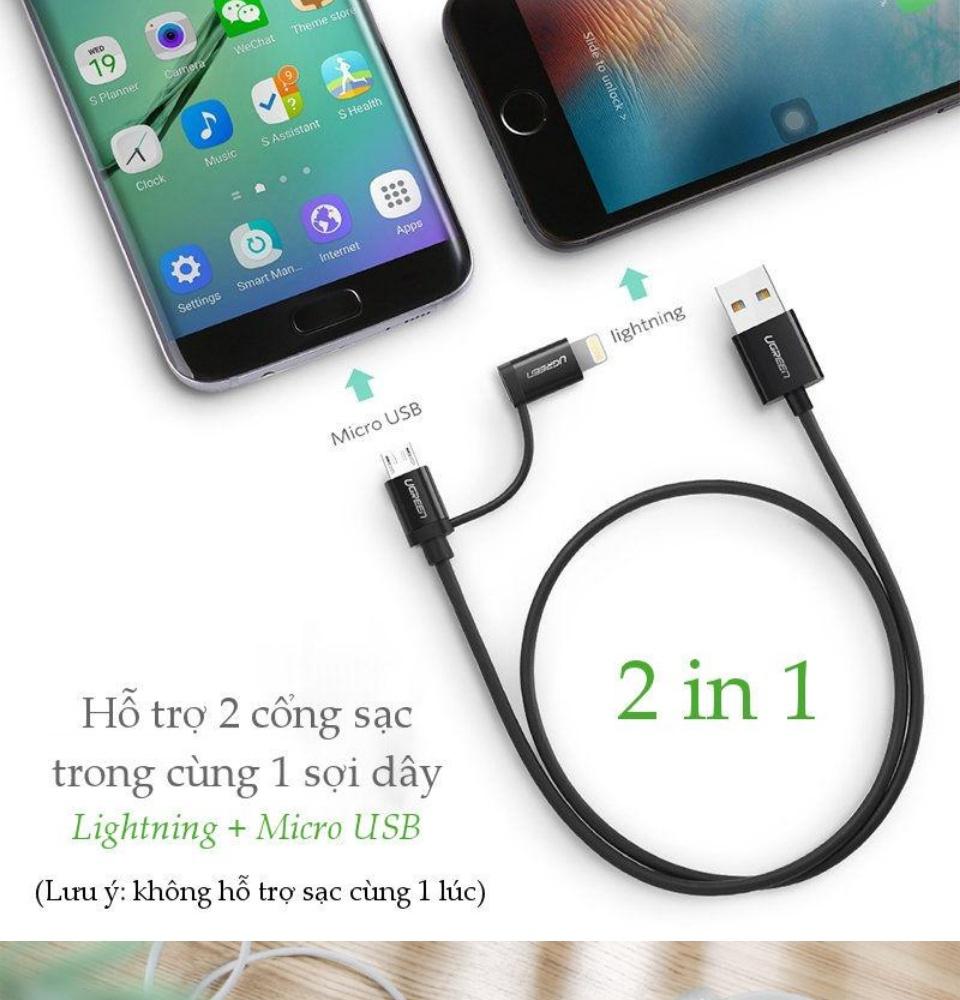 Cáp sạc và truyền dữ liệu 2 in 1 dòng tối đa 2.4A, đầu Lightning (đạt chứng chỉ MFi của APPLE) cho iPhone, iPad, iPod, đầu Micro USB cho điện thoại Android như Samsung Nexus, HTC, Nokia... UGREEN US178