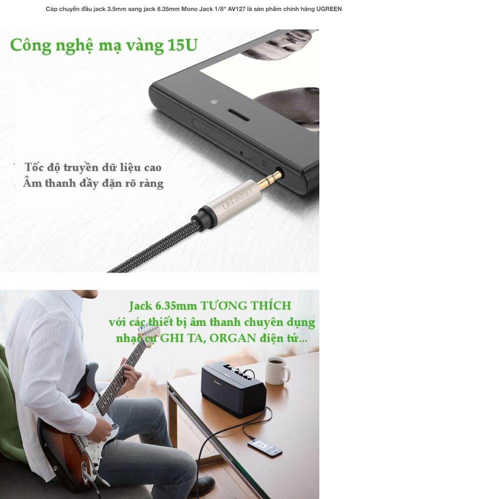 Dây âm thanh 3.5mm đực ra 6.5mm cao cấp  UGREEN AV127