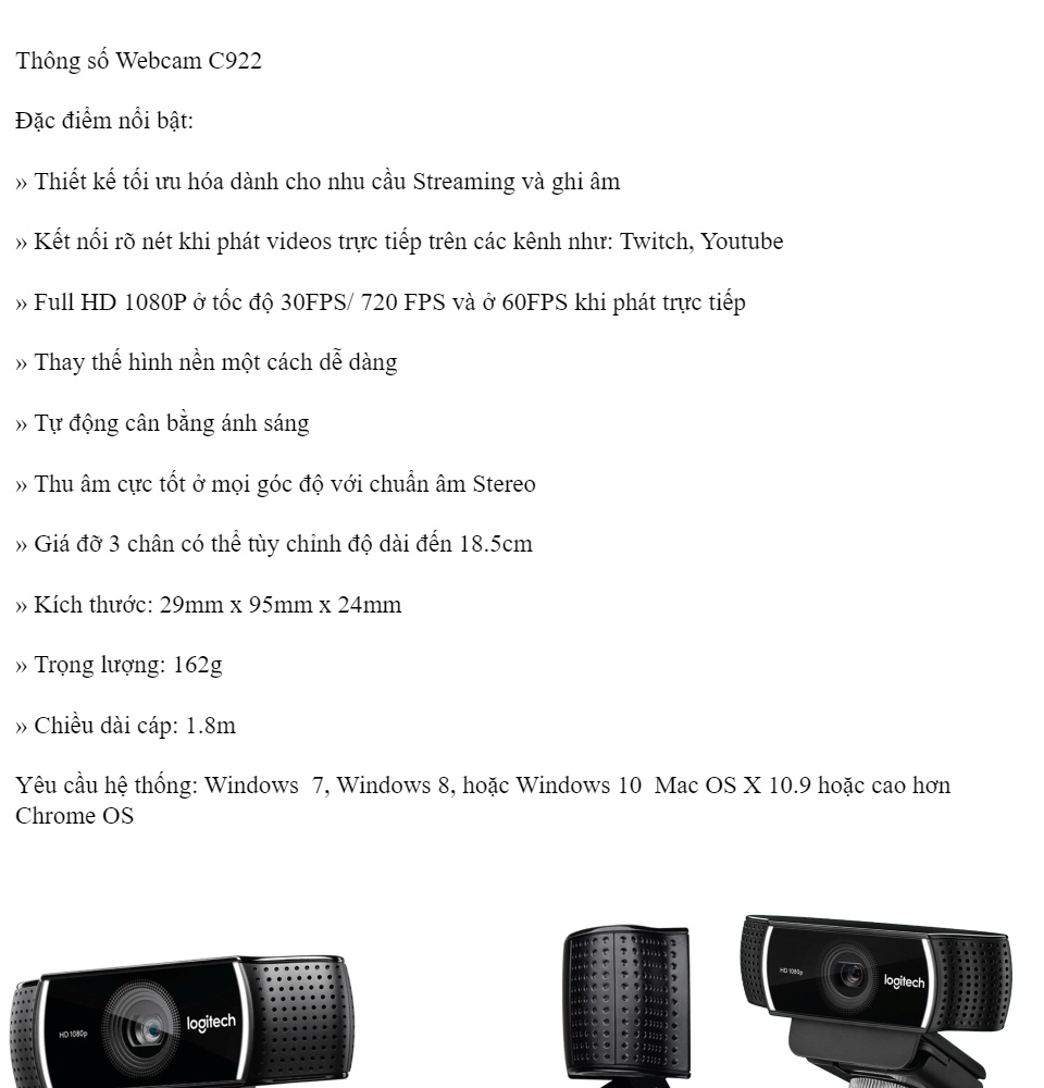 Webcam cho máy tính Logitech C170, C270, C310, C525, C920, C922, C925E, C930E C930C phiên bản mới 2018 [BH 1 năm] 5