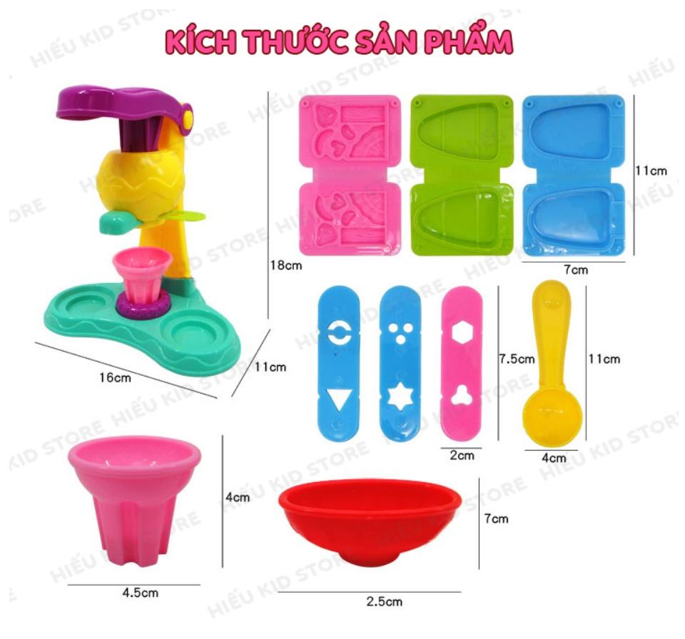 Đồ chơi đất nặn làm kem, đồ chơi thông minh thủ công cho bé thỏa sức sáng tạo, Tặng kèm 5 hộp đất nặn 25k, chất liệu hoàn toàn từ thiên nhiên không độc hại 10