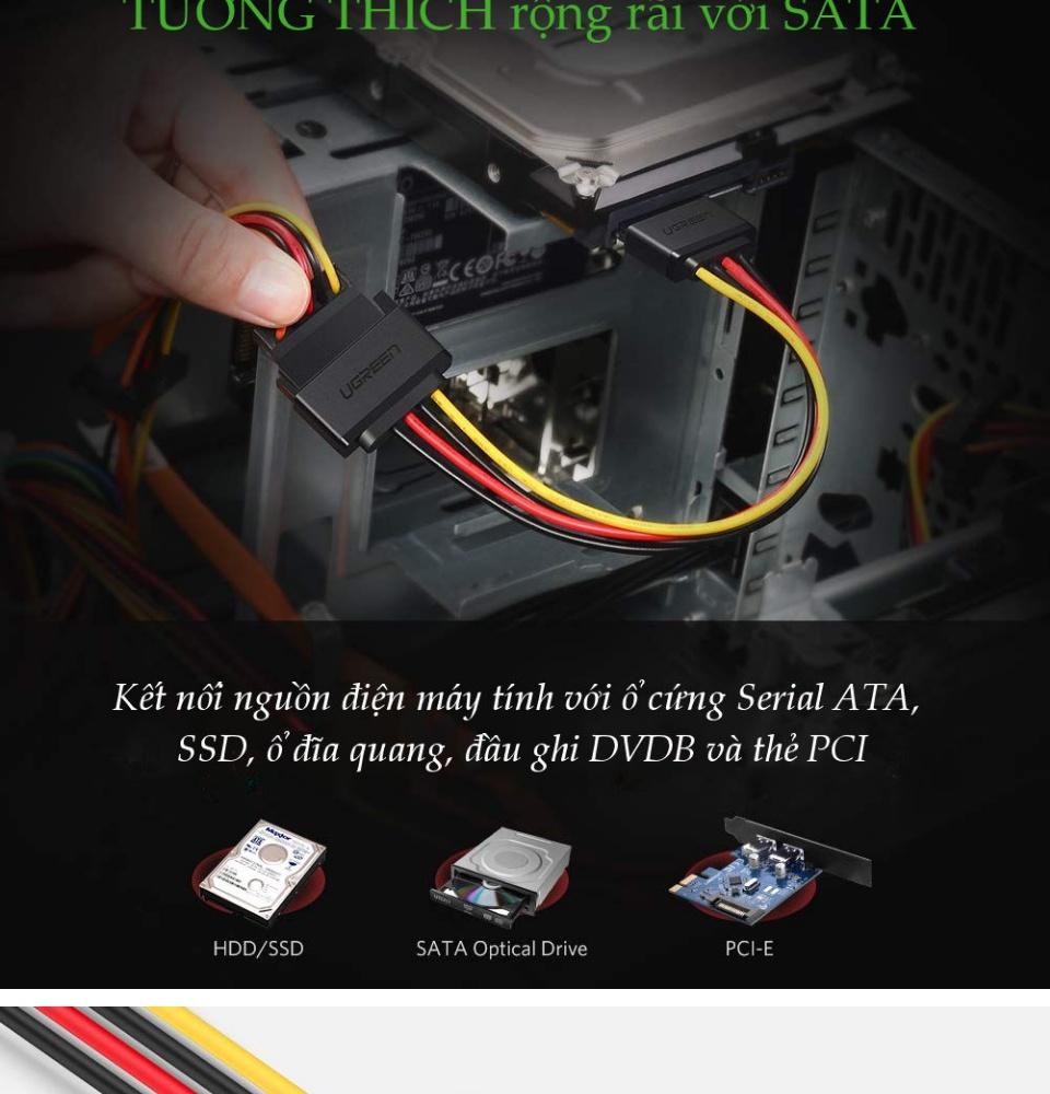 Cáp nối nguồn SATA 15Pin kết nối nguồn điện máy tính với ổ cứng Serial ATA, SSD, ổ đĩa quang, thẻ PCI dài 20cm UGREEN US283