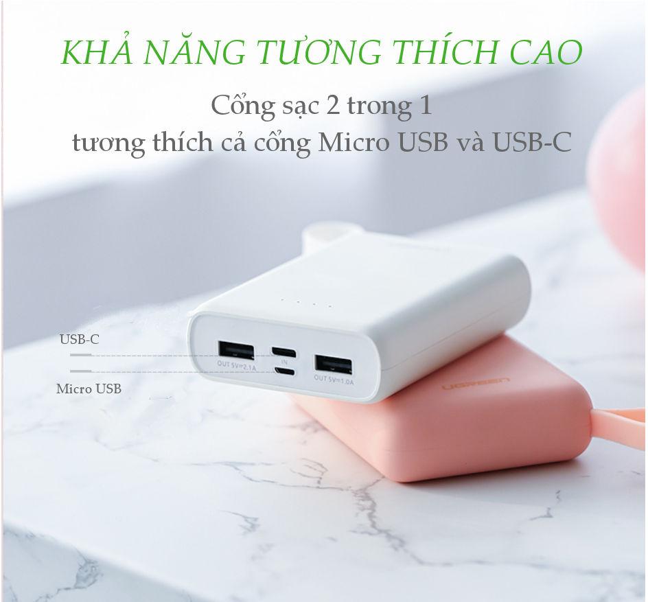 Sạc dự phòng 10000mAh có móc treo tay, 2 cổng sạc USB sử dụng cùng lúc 2 điện thoại, hỗ trợ 2 cổng Micro USB và USB type C UGREEN PB133 60197