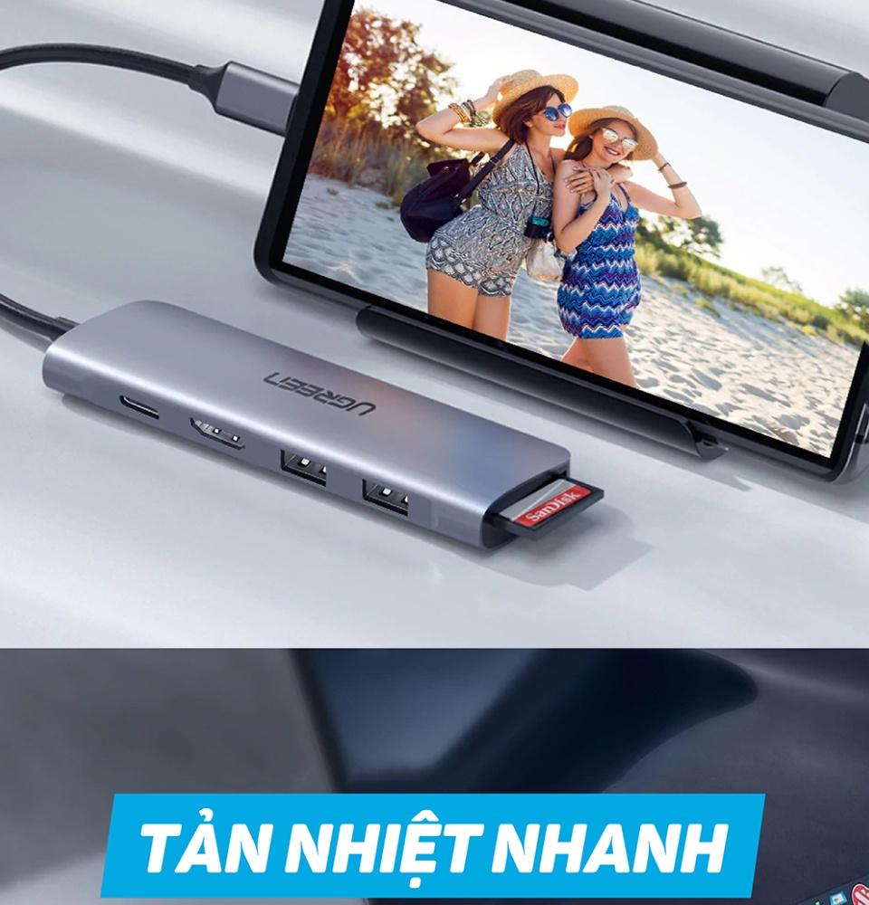 Bộ chuyển đổi đa năng cho MacBook, Laptop, các thiết bị máy tính điện thoại hỗ trợ USB type C truyền âm thanh hình ảnh UGREEN 50771
