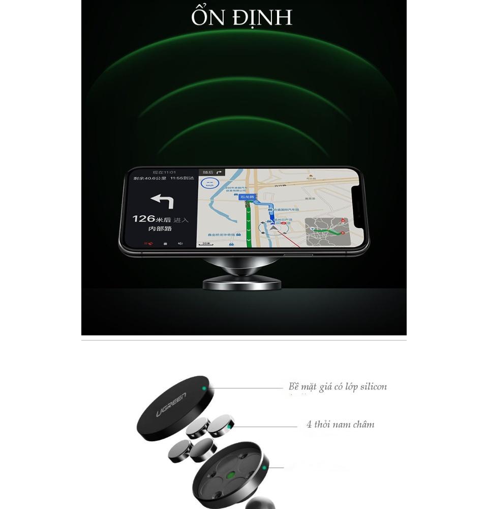 Giá đỡ điện thoại dạng từ tính dạng dán trên bề mặt da (chất kết dính 3M) sử dụng trên ô tô, tương thích dòng điện thoại từ 3.5-7 inch cho iPhone X 8 Plus 7 6S 6 5 UGREEN LP117