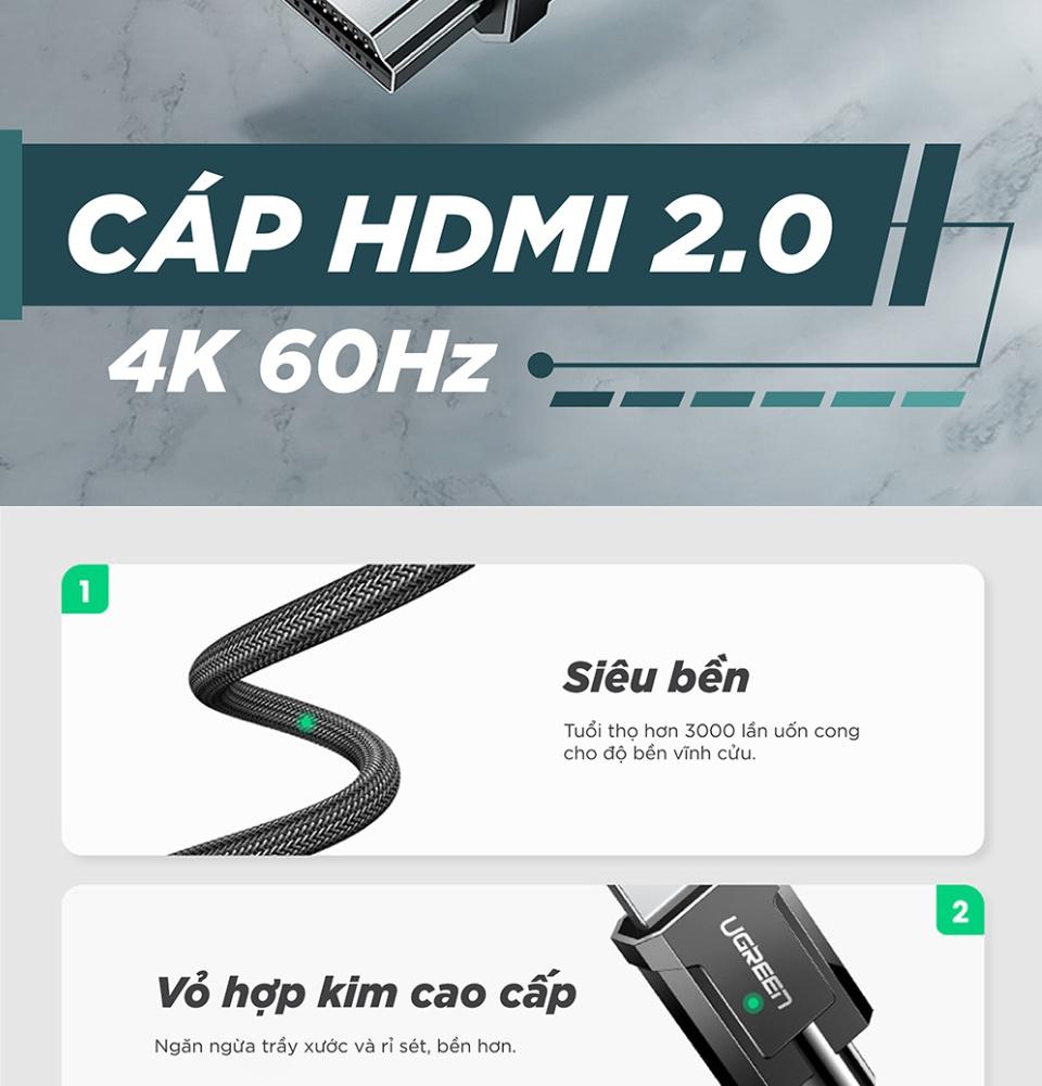 Cáp HDMI 2.0 độ phân giải 4K 60Hz cao cấp dài 1m UGREEN HD136 70322