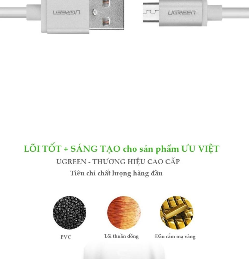 Dây sạc và truyền dữ liệu cổng Micro USB sang USB 2.0 dài 0.25-3m UGREEN US134