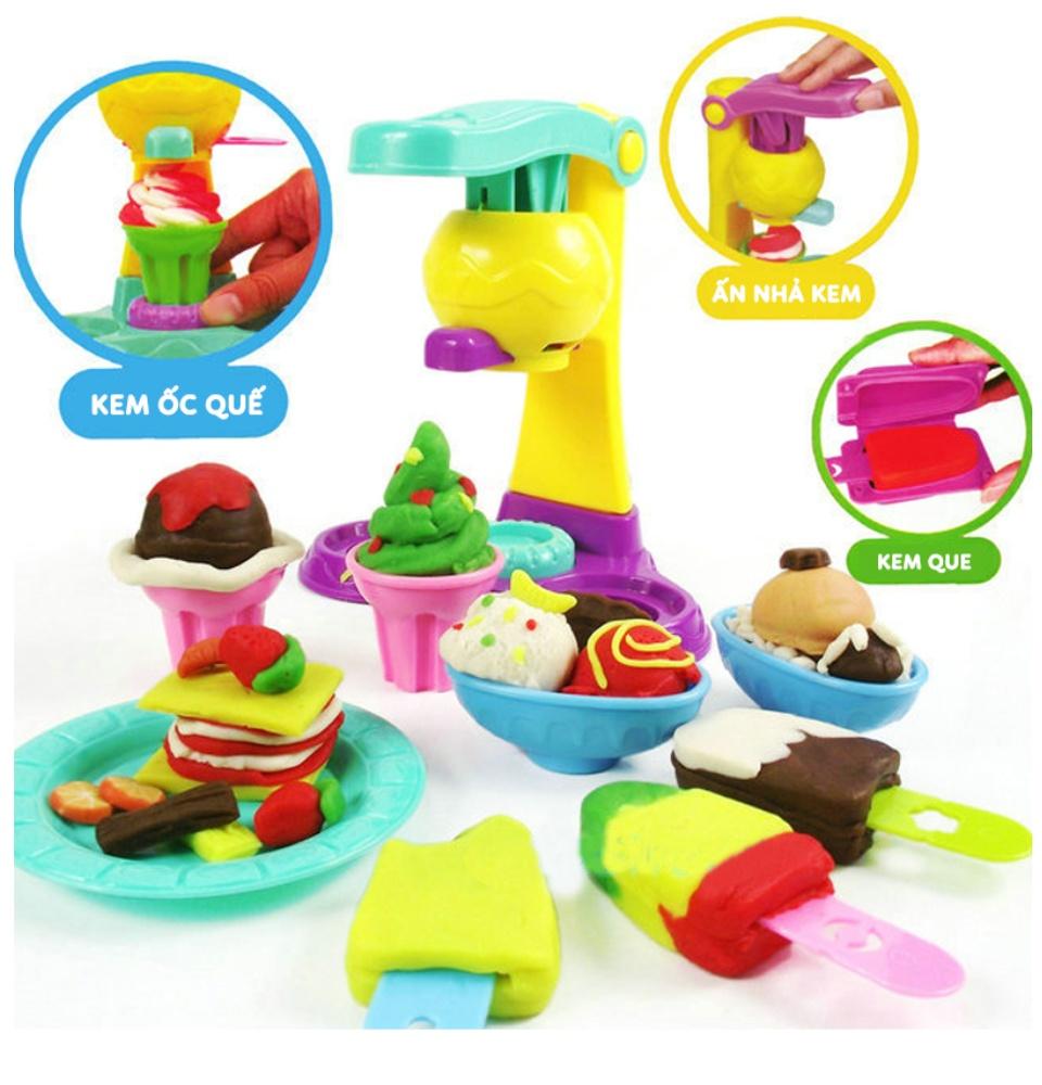 Đồ chơi đất nặn làm kem, đồ chơi thông minh thủ công cho bé thỏa sức sáng tạo, Tặng kèm 5 hộp đất nặn 25k, chất liệu hoàn toàn từ thiên nhiên không độc hại 6