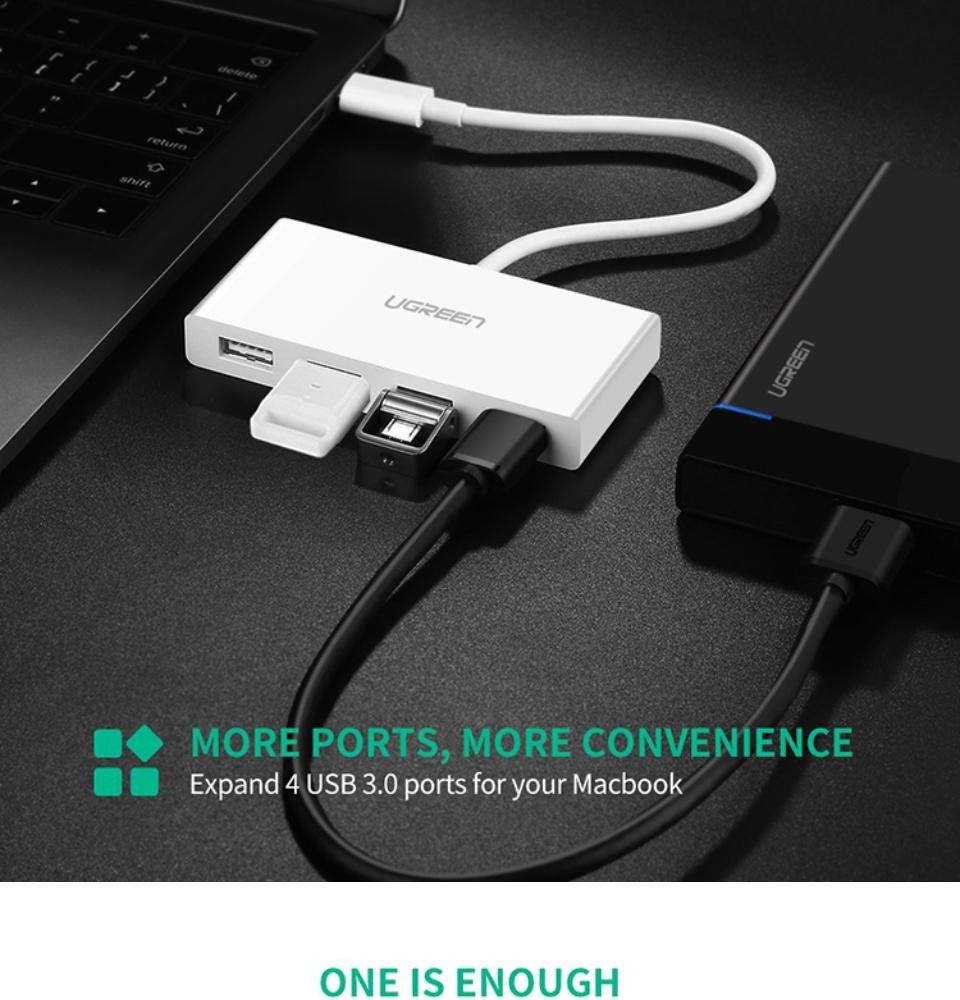 Bộ chuyển đổi USB Type C sang 4 Cổng USB 3.0 UGREEN US234 40379