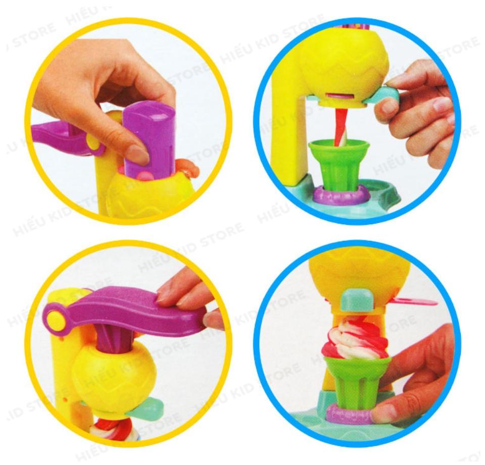 Đồ chơi đất nặn làm kem, đồ chơi thông minh thủ công cho bé thỏa sức sáng tạo, Tặng kèm 5 hộp đất nặn 25k, chất liệu hoàn toàn từ thiên nhiên không độc hại 5