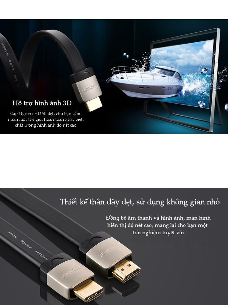 Cáp HDMI dạng dây dẹt, hỗ trợ 2K*4K, hình ảnh 3D, dài 1-5M UGREEN HD123