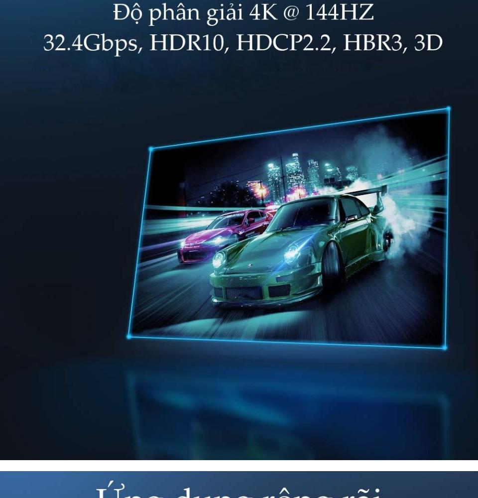 Dây cáp quang DisplayPort 1.4 hỗ trợ 8K 60HZ, 4K 144HZ, HDR10, HDCP2.2 32. 40Gbps 32 kênh âm thanh dài 10m UGREEN ED027 60270