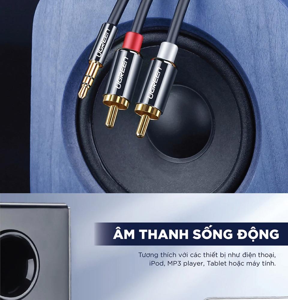 Dây Audio 3.5mm ra 2 đầu RCA (Hoa sen) UGREEN AV116