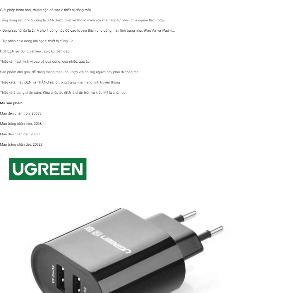 Sạc 2 cổng USB-A UGREEN CD104 - Dòng sạc tối đa 3.4A (Tối đa 2.4A mỗi cổng)