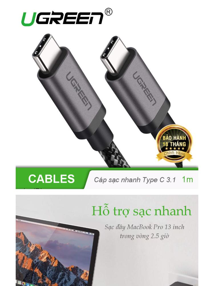 Cáp 2 đầu USB Type C hỗ trợ sạc nhanh PD 3.1, đầu ra Video 4k độ phân giải 3840x2160x60Hz, bọc lưới cotton cho MacBook Pro, Samsung S9 S8 Note 9 8, dài 1m UGREEN 50477