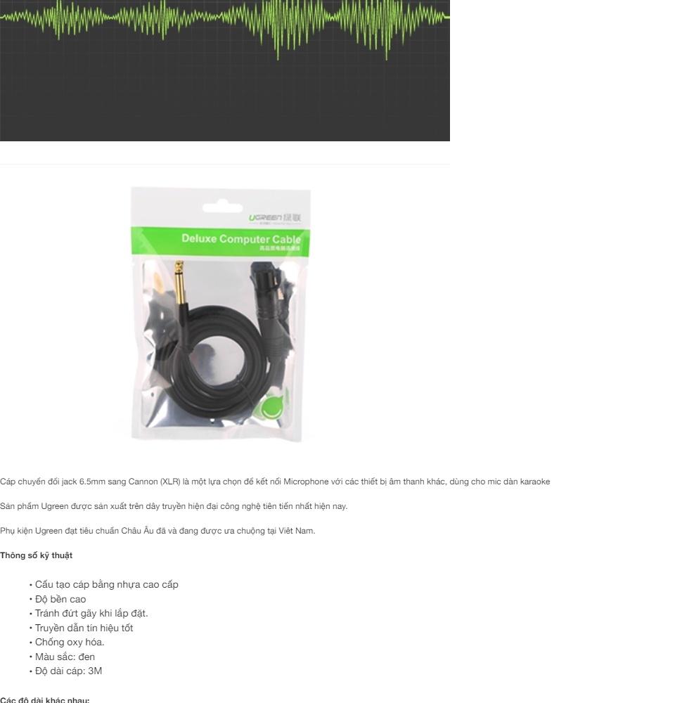 Cáp chuyển đổi từ 6.5mm sang AV Cannon (XLR) âm cho microphone, stereo, mixer, amplifier, camera Environment  UGREEN AV131
