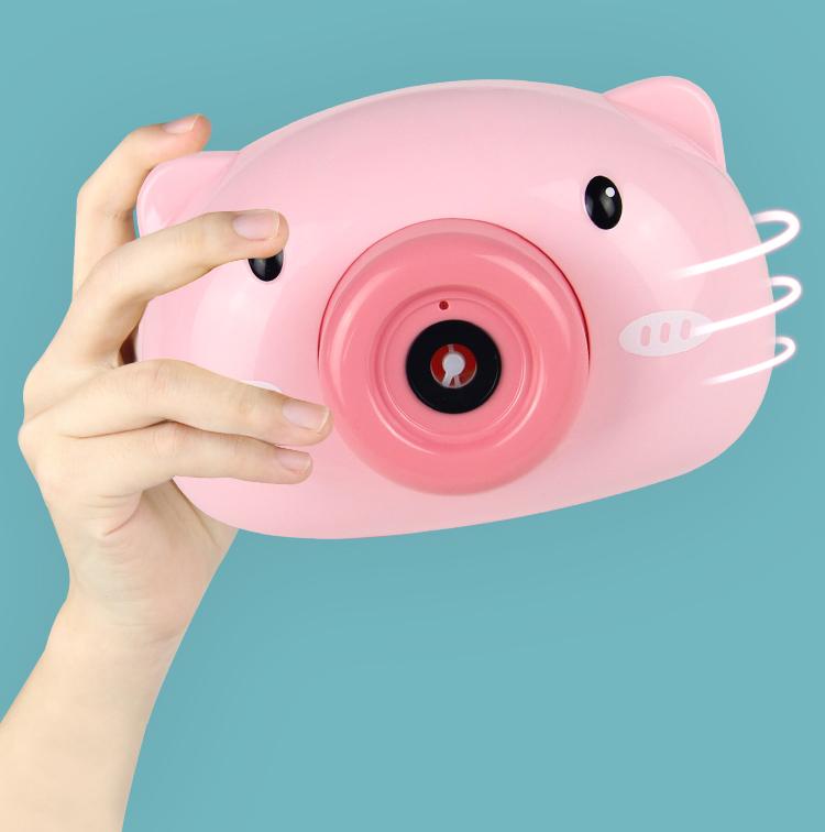 Máy ảnh thổi bong bóng xà phòng quà tặng dễ thương cho bé - may anh thoi bong bong, máy thổi bong bóng heo hồng 3