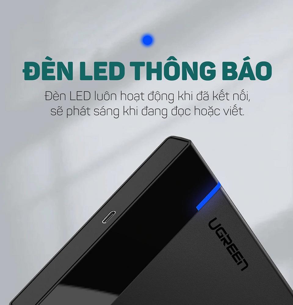 Hộp đựng ổ cứng 2.5 inch SSD HDD, chuẩn SATA hỗ trợ ổ cứng lên đến 6TB, 2 loại vỏ nhôm và nhựa cao cấp, kích thước 128x82x14mm UGREEN US221 CM300