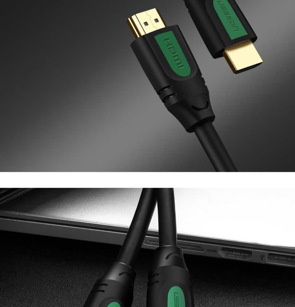 Dây cáp HDMI 2.0 thuần đồng 100%, 19+1 dùng cho Tivi, máy tính, máy chiếu, màn hình... 5m UGREEN HD105