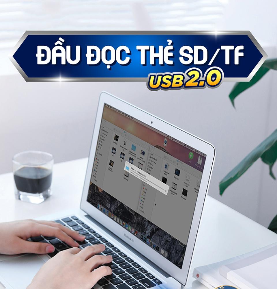 Đầu đọc thẻ SD/TF chuẩn USB 2.0 UGREEN CM264 60721
