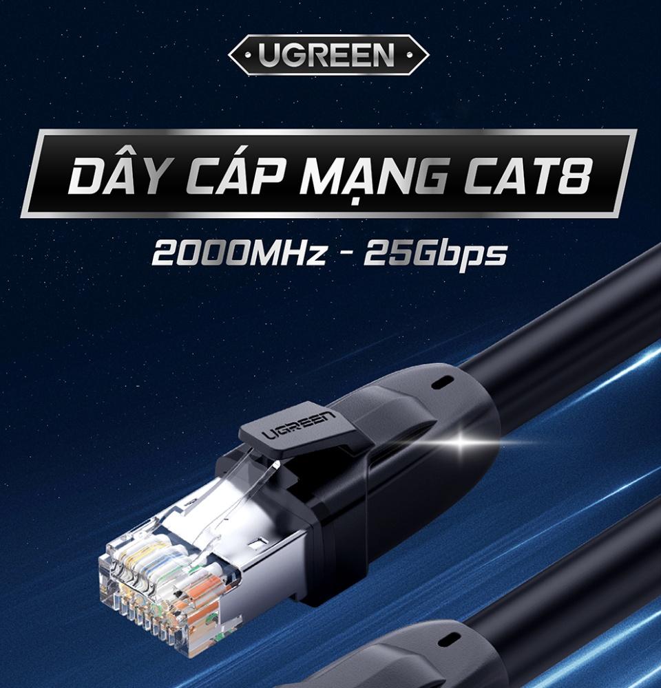Dây cáp mạng chuẩn mới Cat 8 tốc độ truyền dữ liệu 2000MHZ và 25Gbps 10m UGREEN NW121
