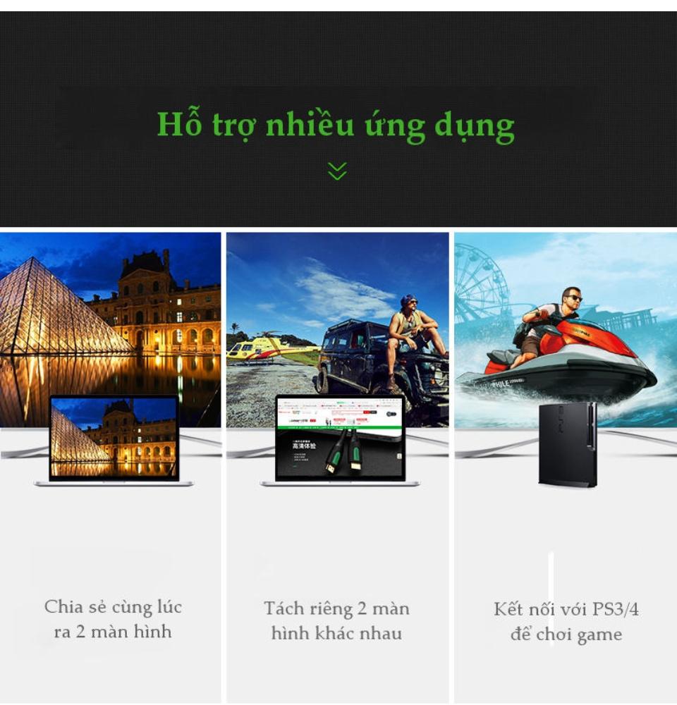 Cáp HDMI 2.0 hỗ trợ 3D, 4K dài từ 1-15m UGREEN HD118