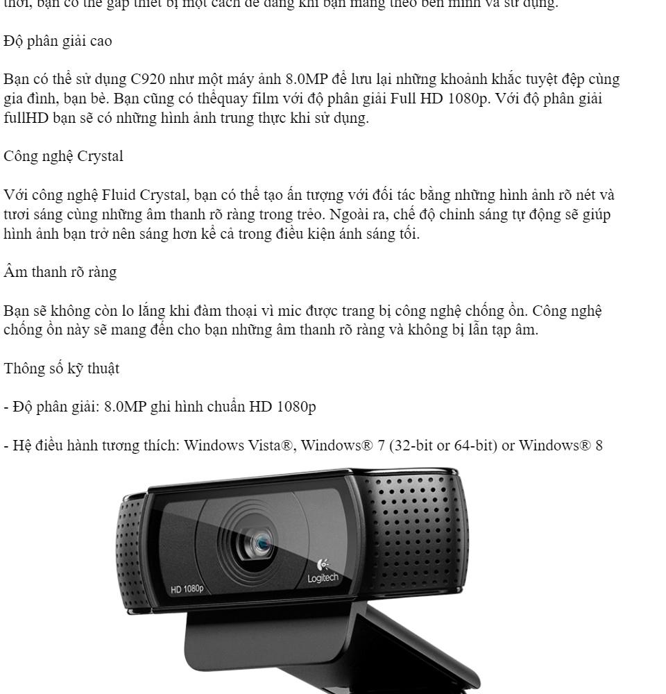 Webcam cho máy tính Logitech C170, C270, C310, C525, C920, C922, C925E, C930E C930C phiên bản mới 2018 [BH 1 năm] 3
