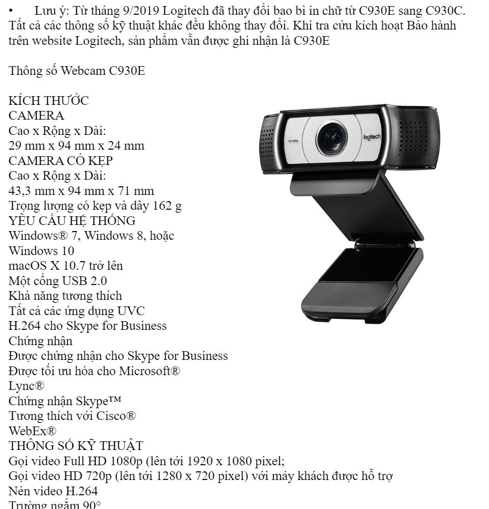 Webcam cho máy tính Logitech C170, C270, C310, C525, C920, C922, C925E, C930E C930C phiên bản mới 2018 [BH 1 năm] 7