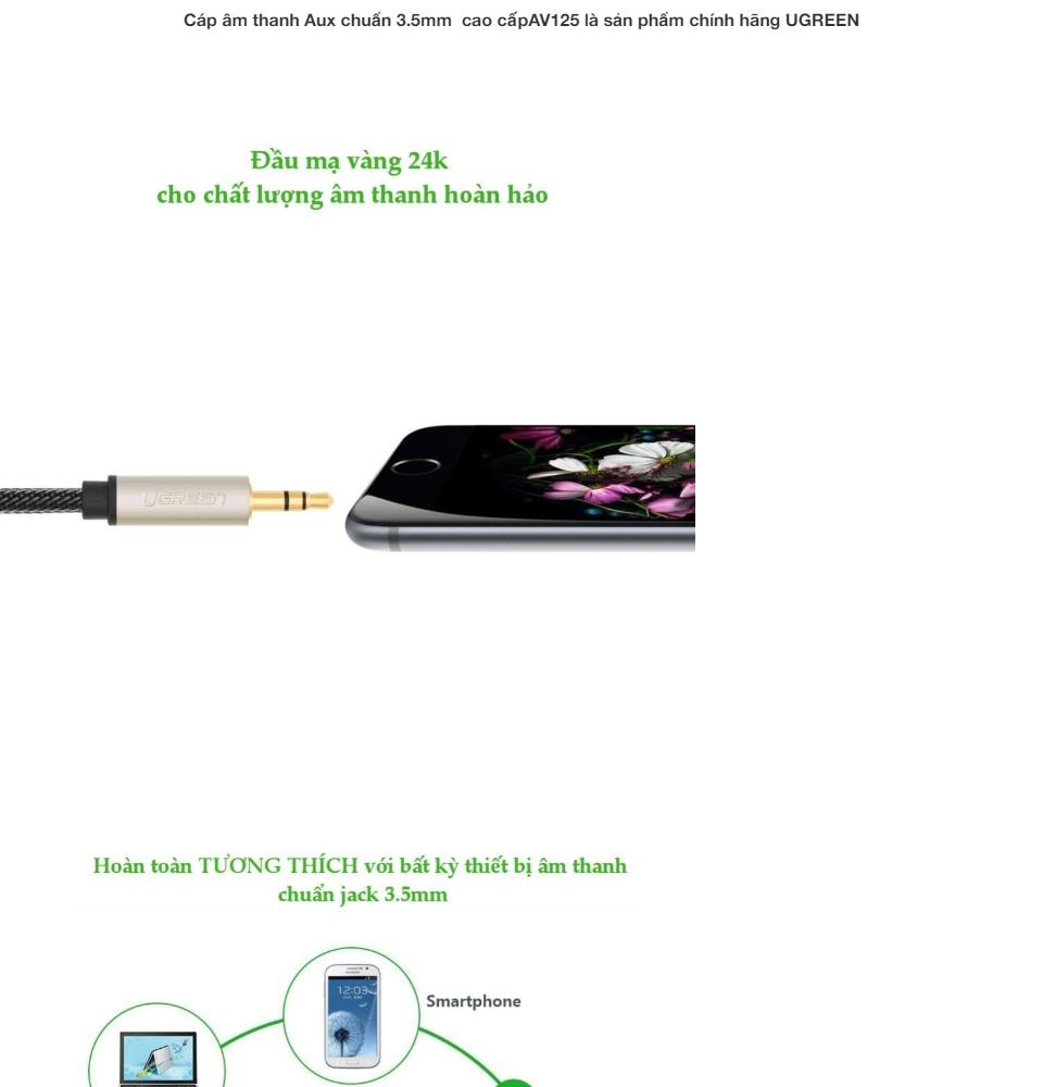 Cáp âm thanh Aux chuẩn 3.5mm cao cấp UGREEN AV125