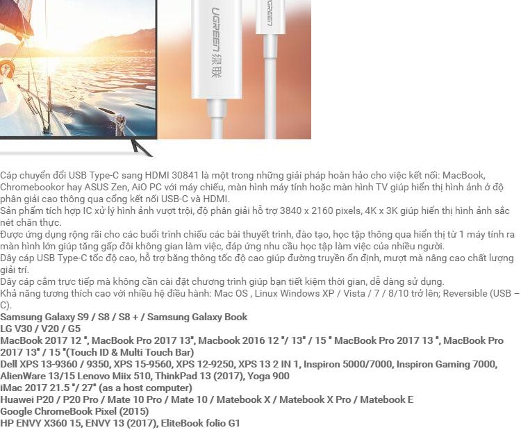 Cáp chuyển đổi USB-C sang HDMI dài 1.5m UGREEN MM121 – Hãng phân phối chính thức