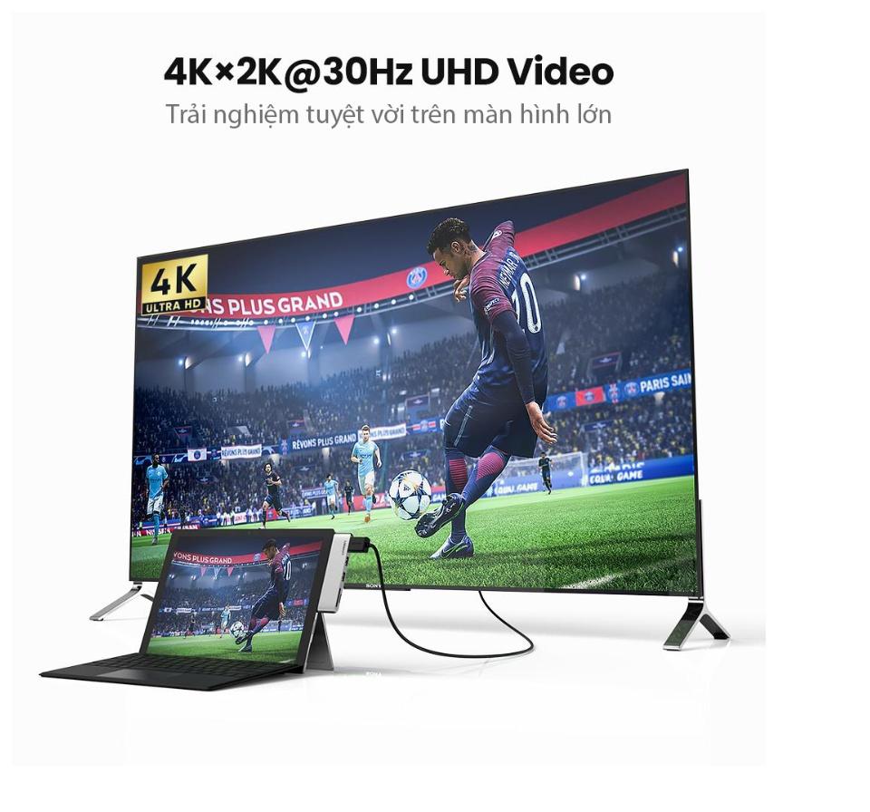 Hub chuyển đổi đa năng 5-in-1 HDMI/USB 3.0/SD/TF vỏ nhôm dành cho Surface Pro UGREEN CM273 70338