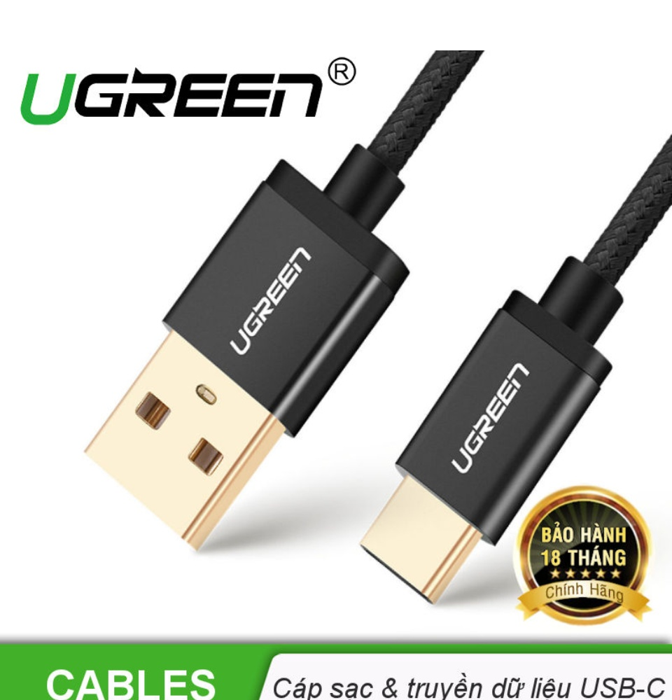 Cáp sạc USB Type-C UGREEN US174 (A sang C) - Hỗ trợ dòng tối đa 3A, dây bện nylon siêu bền, tương thích với điện thoại Samsung / Xiaomi / Oppo / Huawei / OnePlus / Redmi / Realme