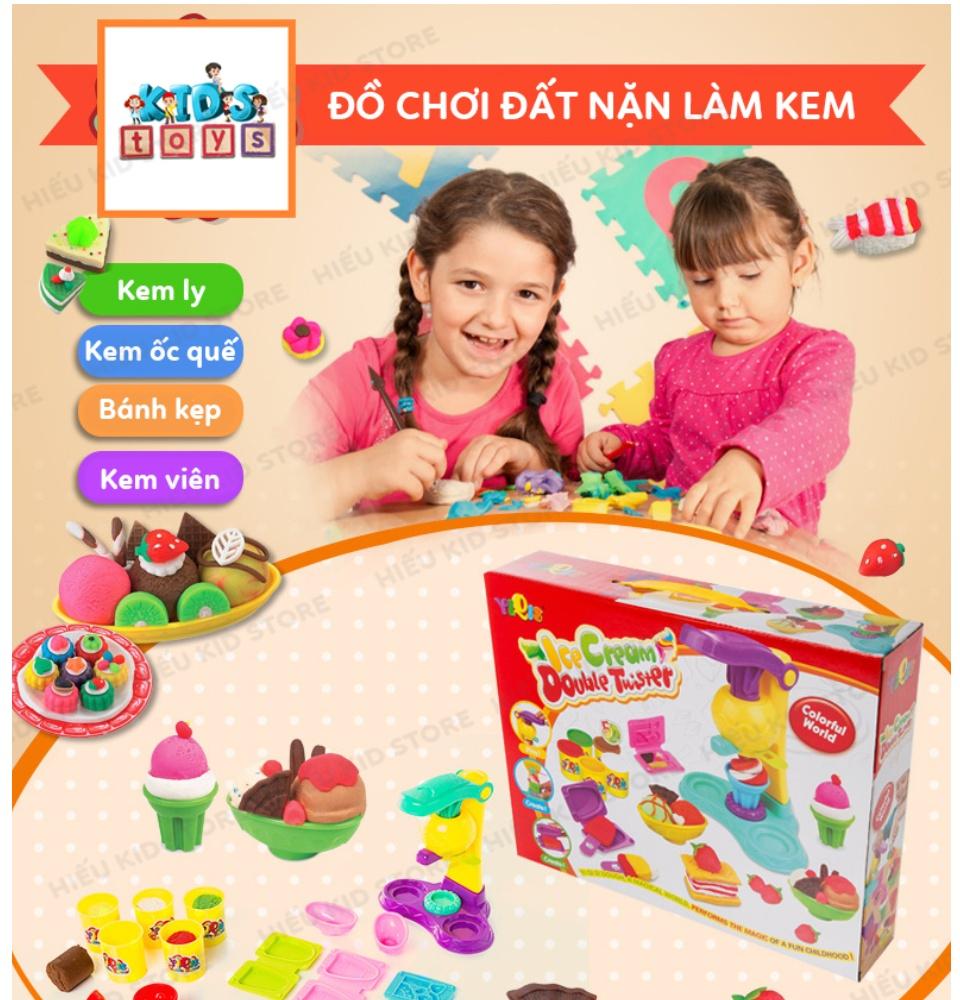 Đồ chơi đất nặn làm kem, đồ chơi thông minh thủ công cho bé thỏa sức sáng tạo, Tặng kèm 5 hộp đất nặn 25k, chất liệu hoàn toàn từ thiên nhiên không độc hại 2