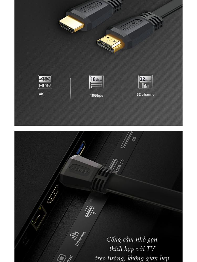 Cáp HDMI 2.0 cao cấp, hỗ trợ 4Kx2K, 3D Full HD1080 dạng dây dẹt UGREEN ED015