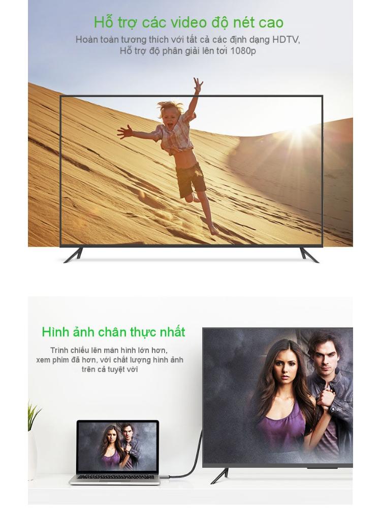 Cáp chuyển đổi HDMI Sang DVI-D (24+1) dài 8-10M UGREEN HD128