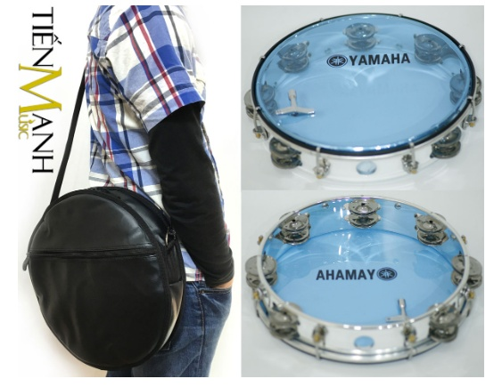 Combo Trống lắc tay và Bao đựng Lục Lạc Gõ Bo Tambourine Yamaha MT6-102B (Xanh Trong Suốt - Trống chơi nhạc chế gõ po - Xipo)