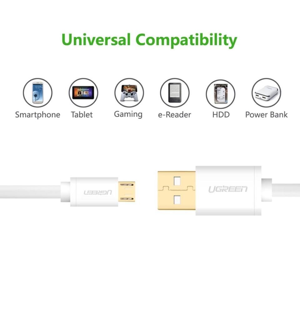 Dây Micro USB 2.0 sang USB 2.0, dài 0.25-3m UGREEN US125 - Hãng phân phối chính thức