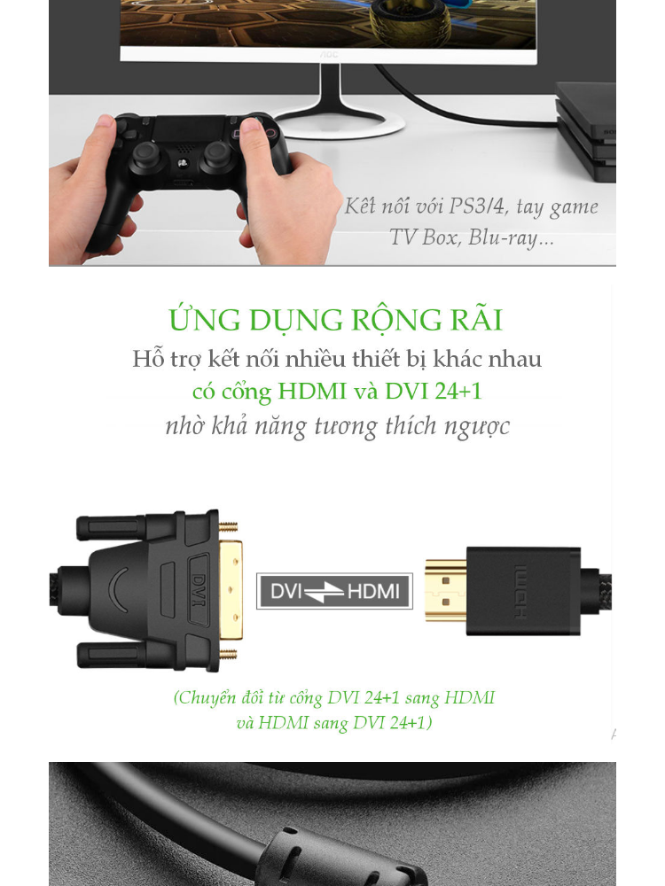 Cáp chuyển đổi tín hiệu từ cổng DVI 24+1 sang HDMI và ngược lại từ HDMI sang DVI 24+1 vỏ bện nylon, độ dài từ 1-5m UGREEN HD133