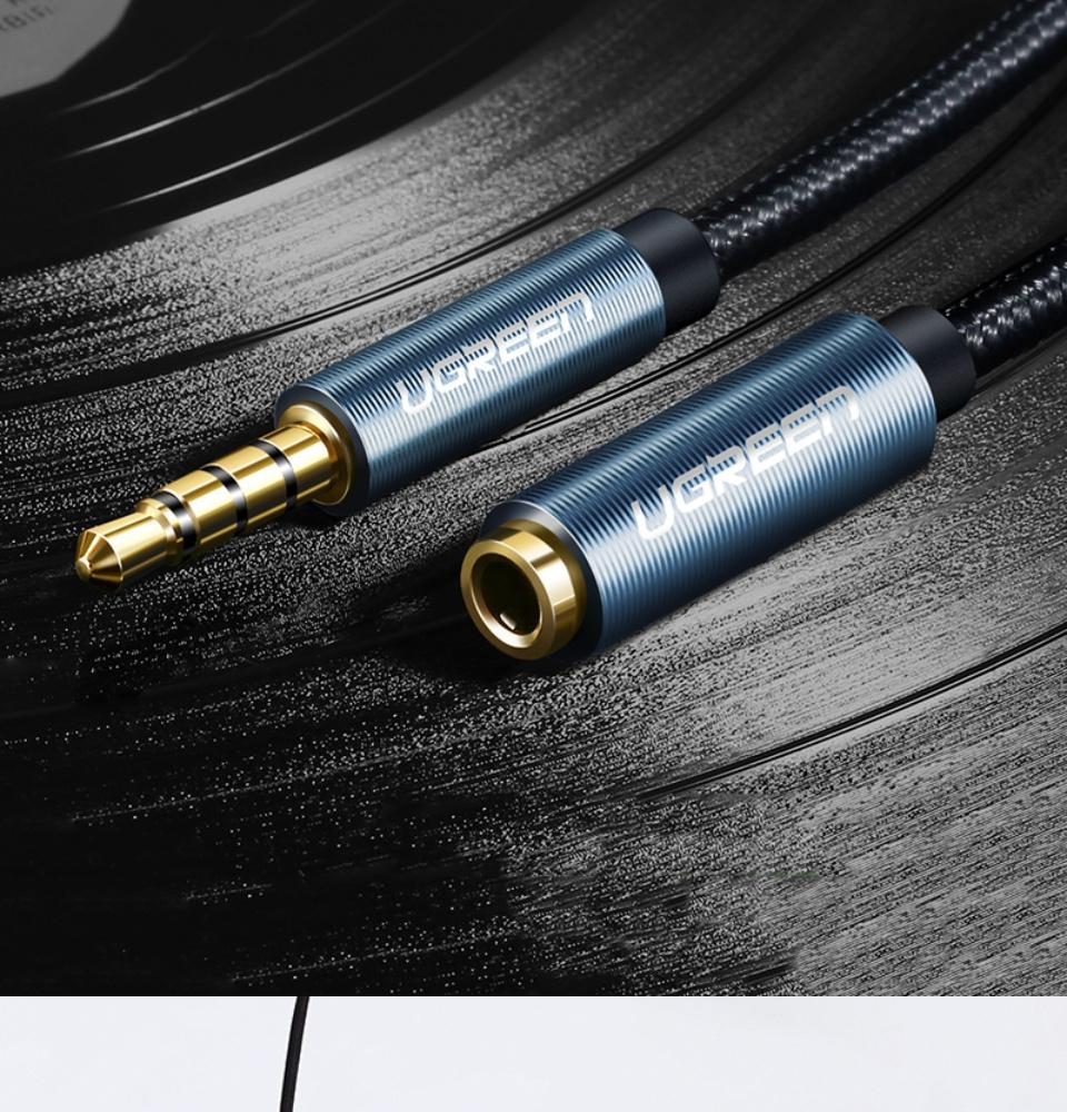 Dây AV nối dài 3.5mm đực sang cái đầu mạ vàng có hỗ trợ mic dài từ 0.5-5m UGREEN AV118