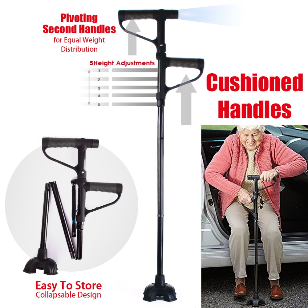 My Get Up and Go Cane Fold 5 Height Adjustments Second Handle Helps You Get Out Of Your Seat The Convenient Walking Stick With LED Lights Magic Cane
